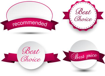 ribbon: Set of magenta ribbons and award badges. Vector illustration.
