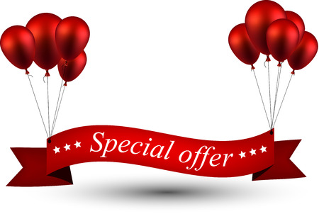 Special offer ribbon background with red balloons. Vector illustration.