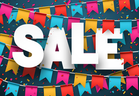 discount banner: Celebrate banner. Party flags with confetti. Vector illustration.