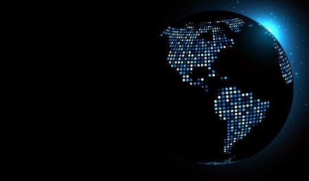 globe world: Dotted world globe. Vector technology illustration. Illustration