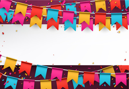 White paper note. Colorful celebration background with confetti. Vector Illustration. Vettoriali
