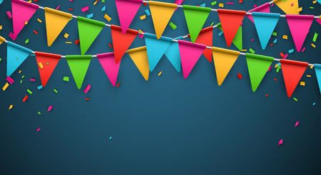 triangular banner: Celebrate banner. Party flags with confetti. Vector illustration.