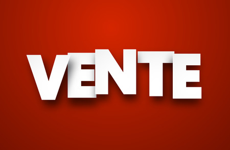 online purchase: White vente sign over red background. Vector sale illustration. Illustration