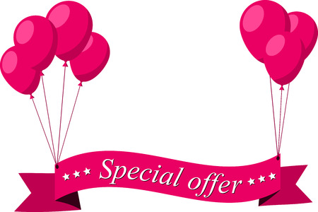 pink balloons: Special offer flat ribbon with pink balloons. Vector illustration. Illustration