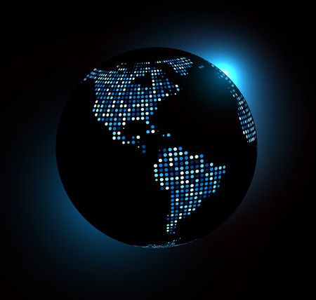 connection connections: Dotted world globe. Vector technology illustration. Illustration