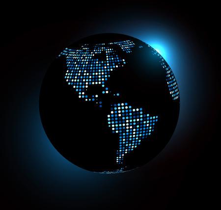 internet connection: Dotted world globe. Vector technology illustration. Illustration