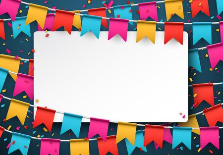 祝賀会: ホワイト ペーパーのメモ。紙吹雪とカラフルな背景。ベクトルの図。
