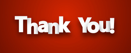 White thank you sign over red background. Vector illustration. Ilustracja