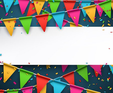 White paper note. Colorful celebration background with confetti. Vector Illustration. Vectores