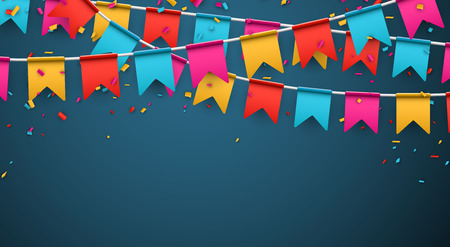 hanging banner: Celebrate banner. Party flags with confetti. Vector illustration.