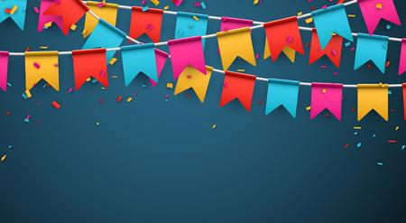 celebra: Celebre bandera. Banderas del partido con confeti. Ilustración del vector. Vectores