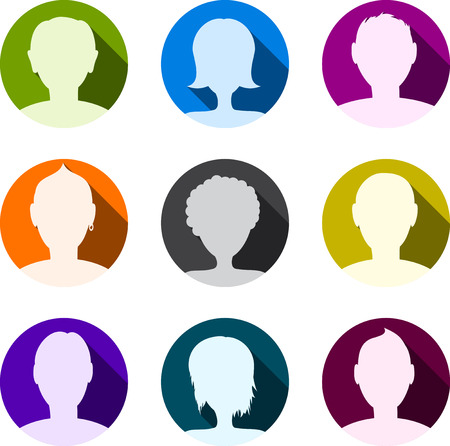 blue web icons: People icon set. Person symbols. Vector illustration.