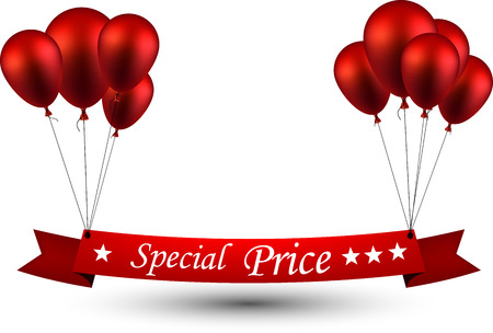 special price: Special price ribbon background with red balloons. Vector illustration.