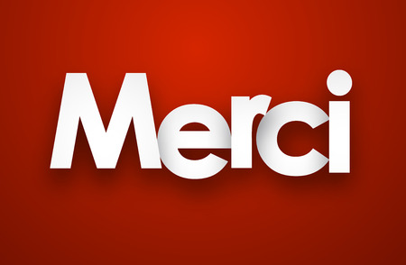 french text: White merci sign over red background. Vector illustration.