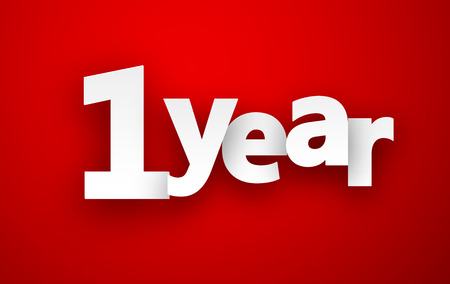 1 year: 1 year paper sign over red. Vector illustration. Illustration