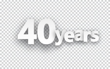 40: Forty years paper sign over cells. Vector illustration.