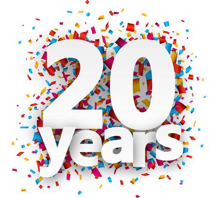 Vingt ans de signe de papier sur des confettis. Vector illustration jour férié. Banque d'images - 42724028