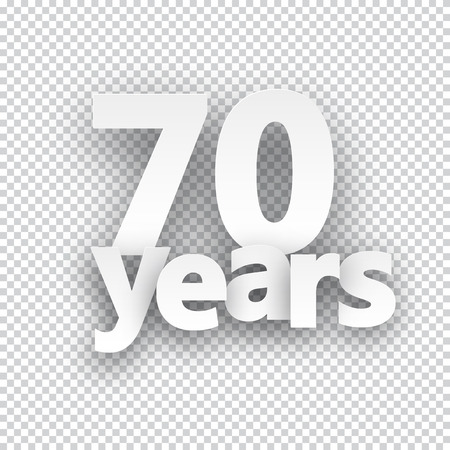 70: Seventy years paper sign over cells. Vector illustration.