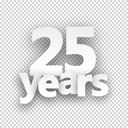 Twenty five years paper sign over cells. Vector illustration. Illustration