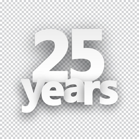 five years': Twenty five years paper sign over cells. Vector illustration. Illustration