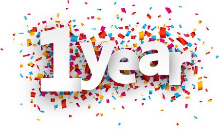 праздник: Один год бумаги знак на конфетти. Вектор иллюстрация праздник.