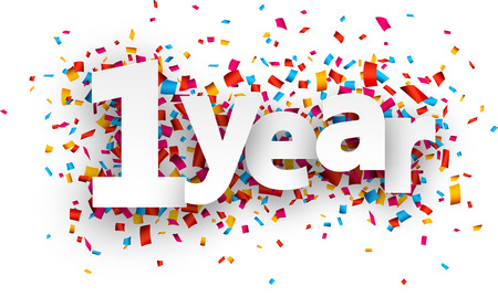celebration: 一年紙牌子,上面五彩紙屑。向量插圖假期。