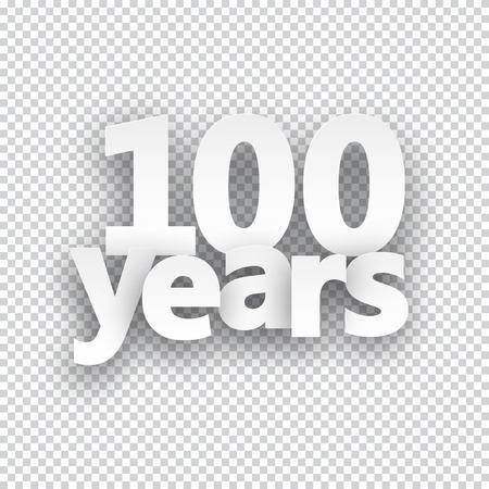 hundred: Hundred years paper sign over cells. Vector illustration.