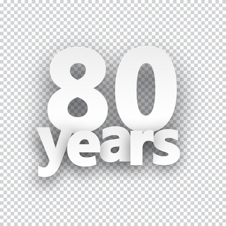 eighty: Eighty years paper sign over cells. Vector illustration.