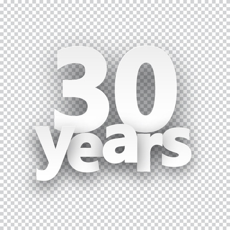 thirty: Thirty years paper sign over cells. Vector illustration.