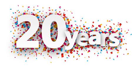 celebration: Húsz évvel papír jel fölött konfetti. Vektor ünnep illusztrálja.