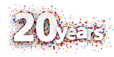 Twenty years paper sign over confetti. Vector holiday illustration.