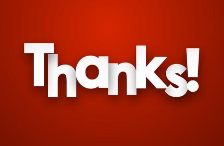 White thanks sign over red background. Vector illustration. 일러스트