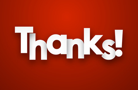 White thanks sign over red background. Vector illustration. Vettoriali