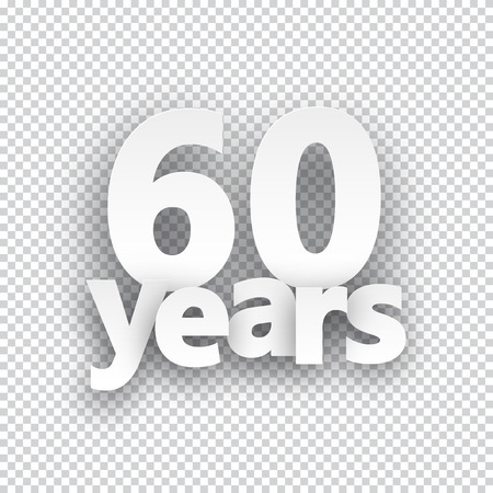 60 years: Sixty years paper sign over cells. Vector illustration.
