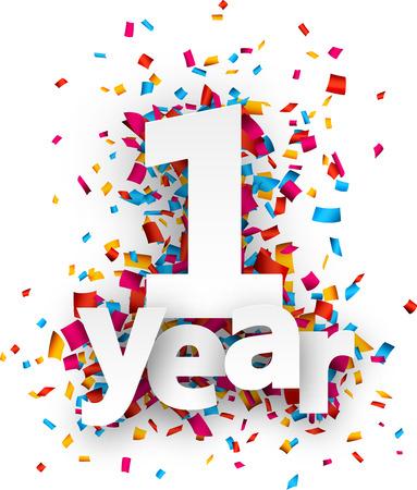 anniversaire: Papier signe pour un an au cours des confettis. Vector illustration jour férié.