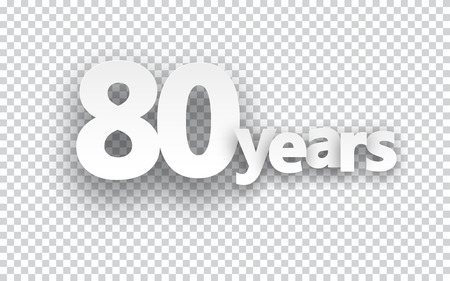 80 years: Eighty years paper sign over cells. Vector illustration.