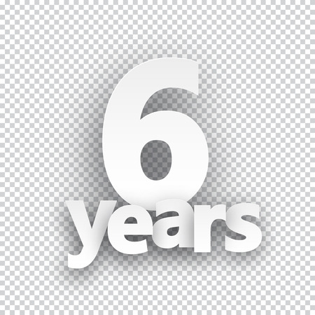 6 years: Six years paper sign over cells. Vector illustration.