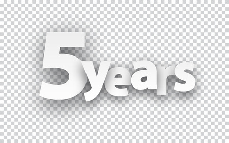 age 5: Five years paper sign over cells. Vector illustration. Illustration