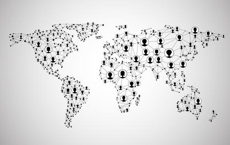 alrededor del mundo: Malla de la red global. Fondo de comunicación social. Mapa de la tierra. Ilustración del vector. Vectores