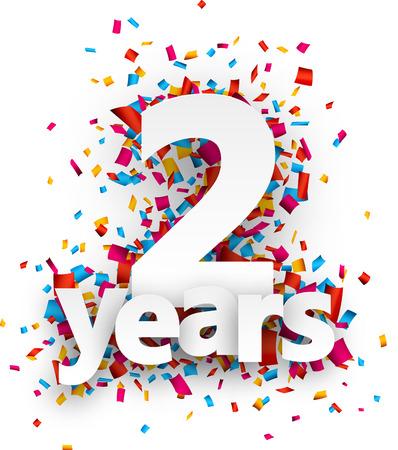 anniversaire: Deux ans de signe de papier sur des confettis. Vector illustration jour férié. Illustration