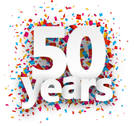 Fifty years paper sign over confetti. Vector holiday illustration.