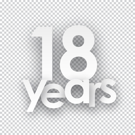 happy birthday 18: Eighteen years paper sign over cells. Vector illustration.