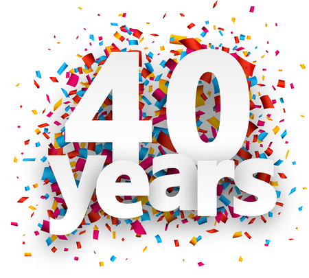 40: Forty years paper sign over confetti. Vector holiday illustration. Illustration