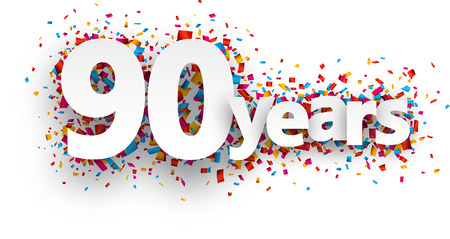 90 years: Ninety years paper sign over confetti. Vector holiday illustration.