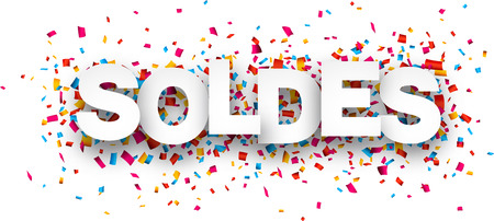 White soldes sign over confetti background. Vector holiday illustration.