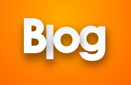 sign orange: White blog sign over orange background. Vector illustration.