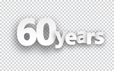 age 60: Sixty years paper sign over cells. Vector illustration.