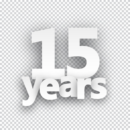 anniversary celebration: Fifteen years paper sign over cells. Vector illustration.