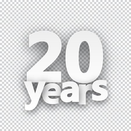 20 years: Twenty years paper sign over cells. Vector illustration. Illustration