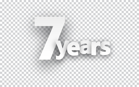 seven years: Seven years paper sign over cells. Vector illustration.